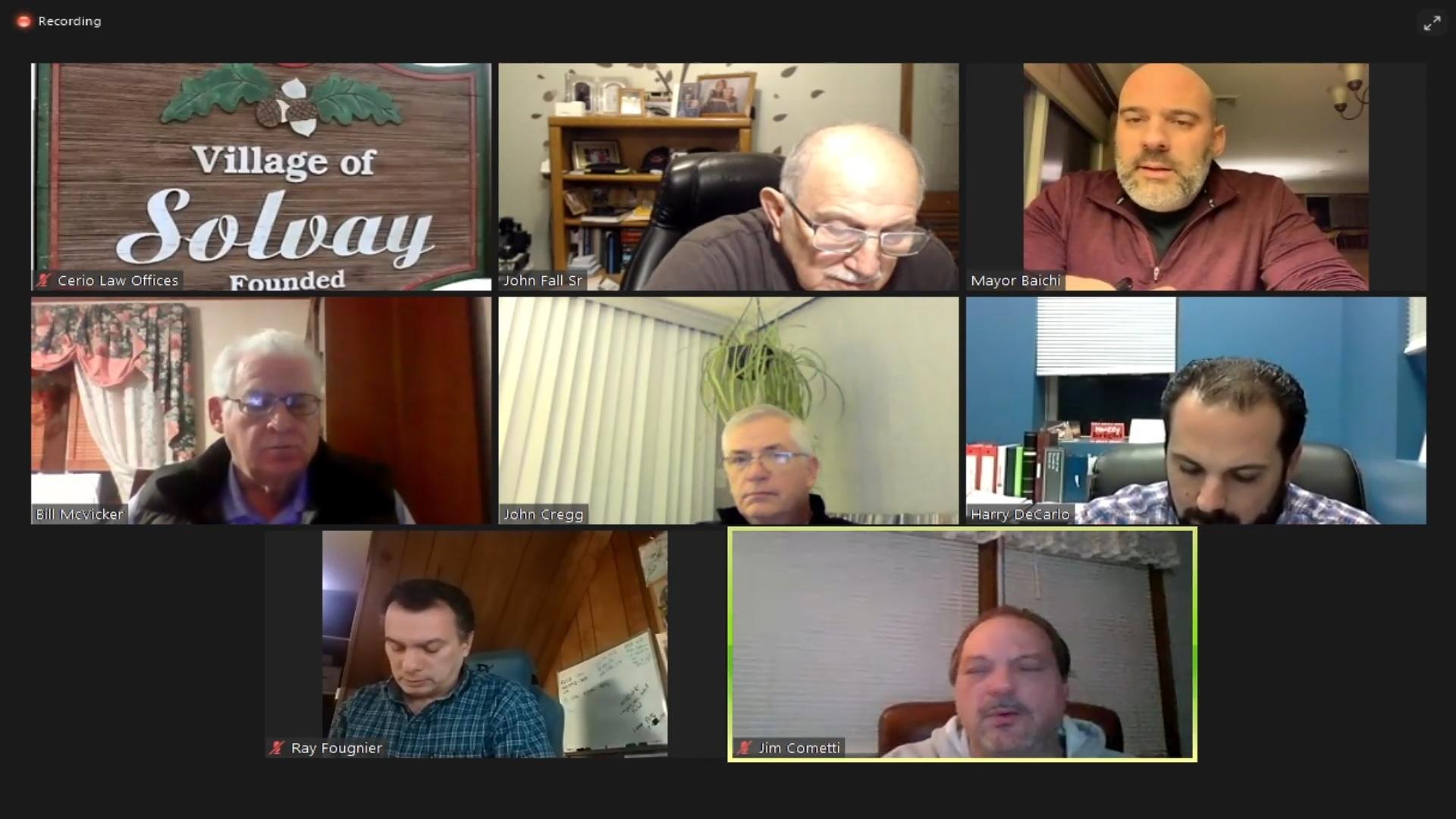 Village of Solvay SpecialBoard/Organizational Meeting Janurary 5th, 2021